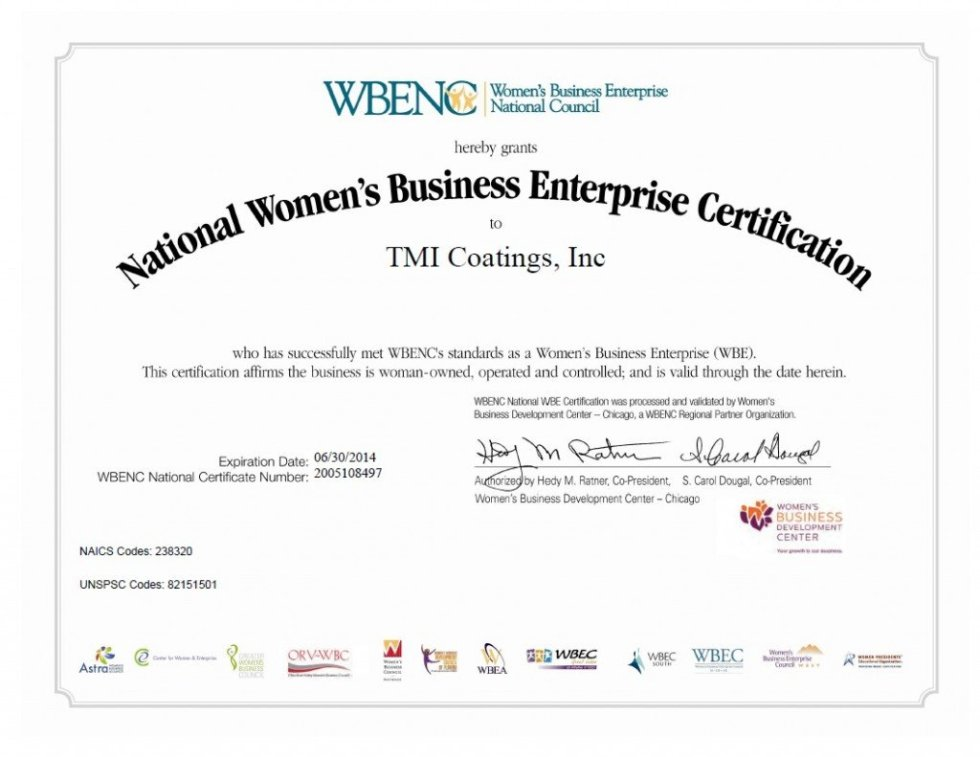 TMI Coatings re-certified as a Women's Business Enterprise