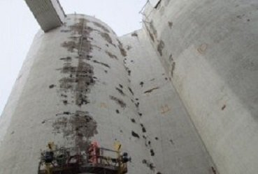 BEFORE Image Of The Concrete Silo Restoration And Coating In Crookston, Minnesota By TMI Coatings
