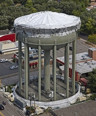 TMI Coatings Submitted For SSPC Structure Award water tower reveal in process