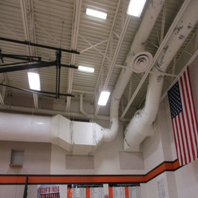 School Gym Ducting And Pipe Painting Before They Were Repainted By TMI