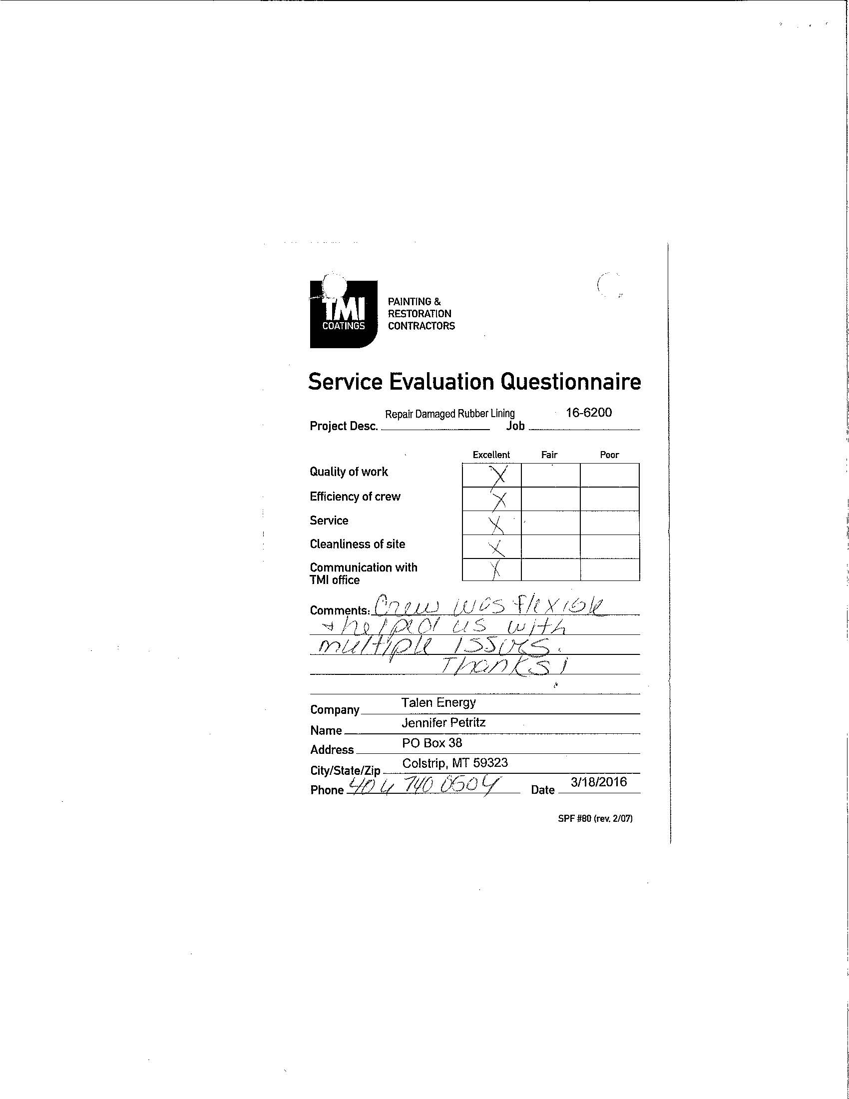 Evaluation form with positive scorings.