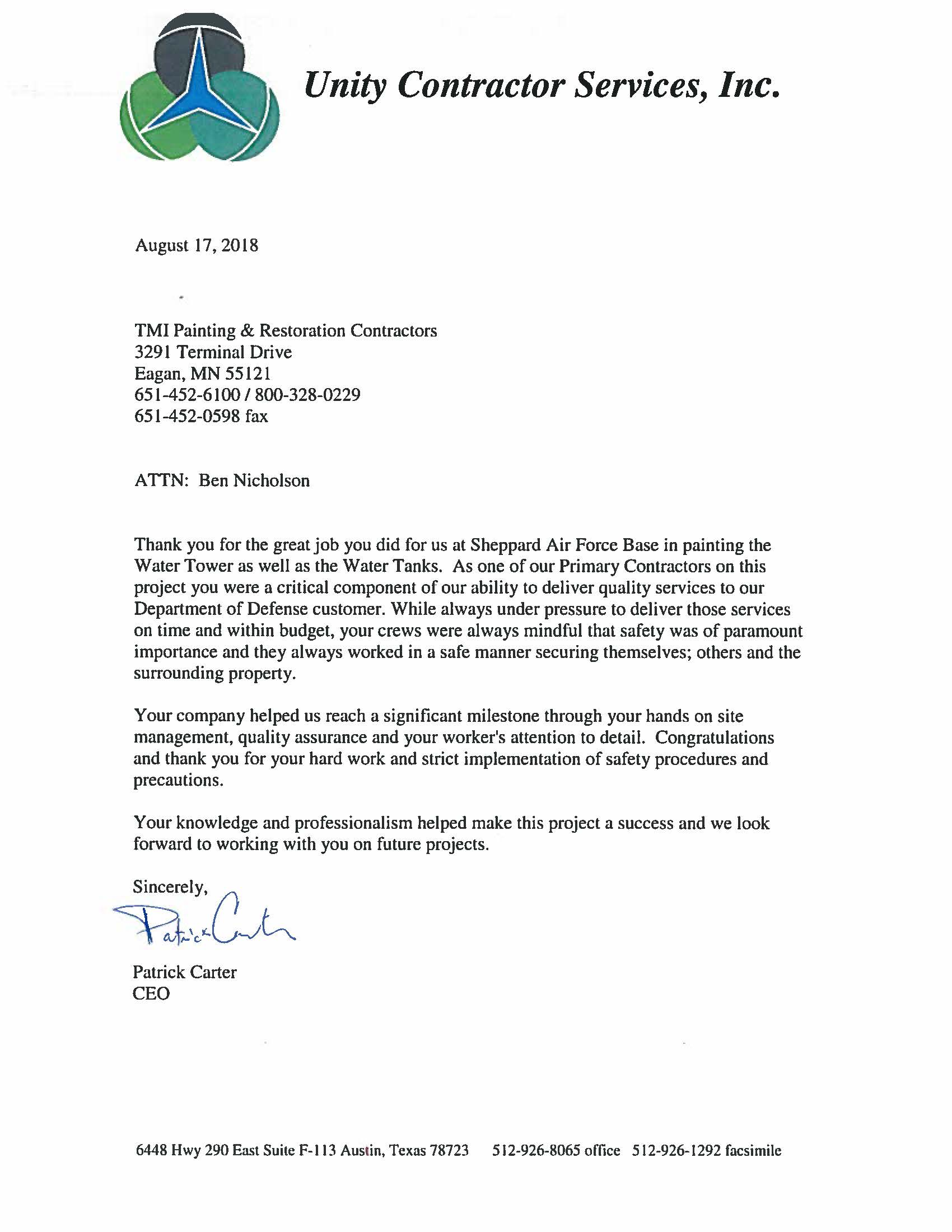 Unity personal thank you letter to excellent job from TMI Coatings.