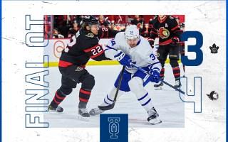 Game 55: Toronto Maple Leafs 3 – 4 Ottawa Senators