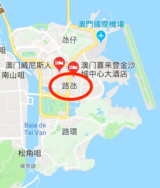 大三巴到巴黎人 路氹城塡海區 地圖