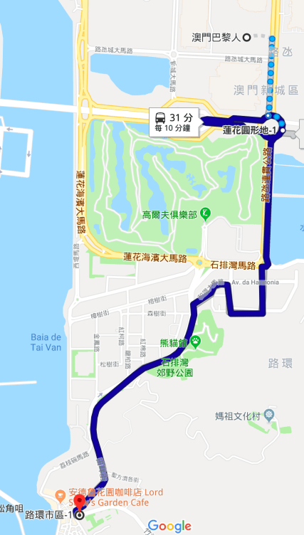 Bus route from Parisian Macao to Coloane
