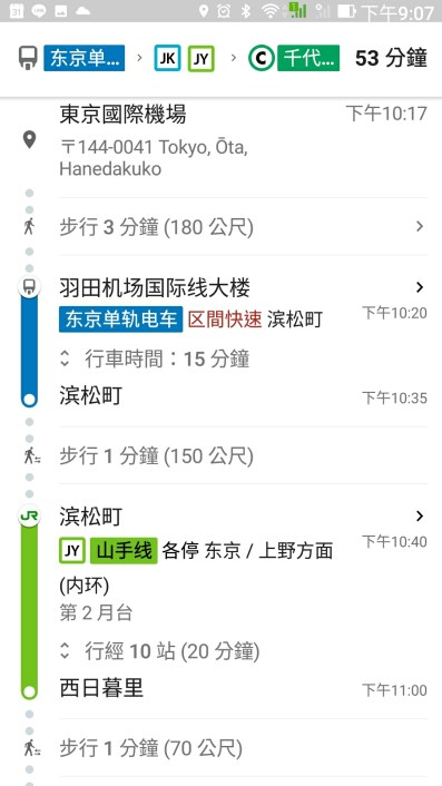 20180511_google search result for tokyo Haneda airport to Citi center via monorail