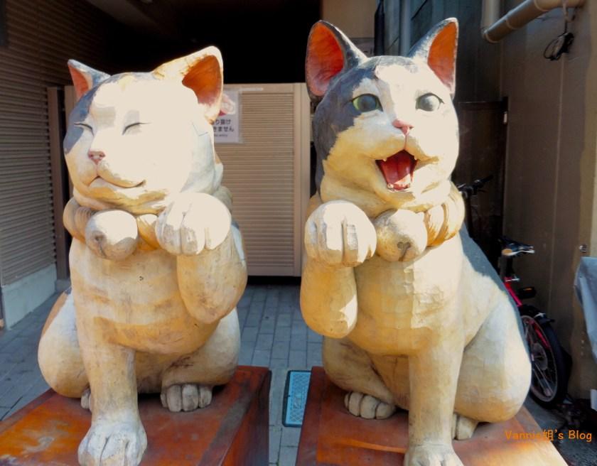 東京 谷中銀座 商店街 貓的雕像