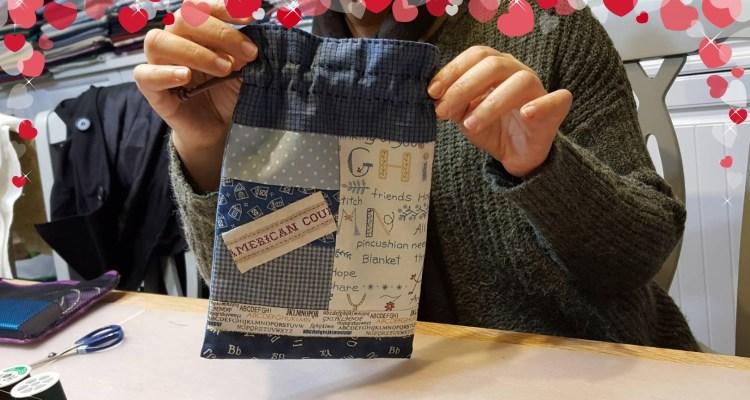 拼布手作 終於完成了第一個置物束口袋