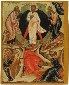 The Transfiguration, from the Feasts tier, ca. 1670. Tempera on wooden panel. 73.9 x 60.2 x 4 cm. Yaroslavl Art Museum, Yaroslavl, Russia.