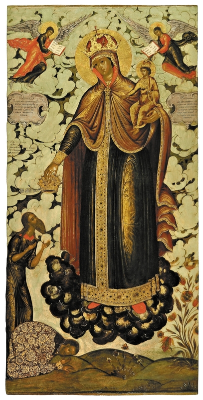 The Mother of God 'The Joy of All Who Sorrow', early 18th century. Tempera on wooden panel. 129 x 63 cm. Yaroslavl Art Museum, Yaroslavl, Russia.