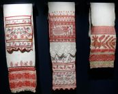 Display of Embroidered Towels with Bird Pattern, early 19th-late 20th century. Russia. Private Collection of Susan Johnson. Varied materials and techniques.