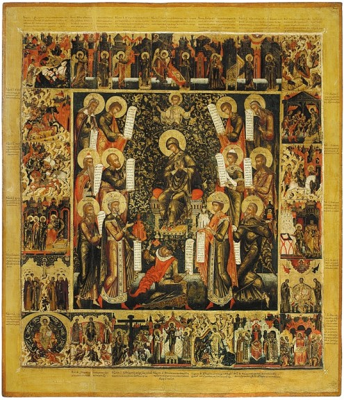 Laudation to the Mother of God, with the scenes from the Akathist, mid-17th century. Tempera on wooden panel. 147 x 128 cm. Yaroslavl Art Museum, Yaroslavl, Russia.