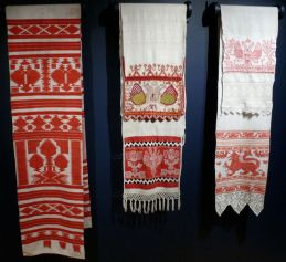 Display of Embroidered Towels with Double-Headed Eagle, early 19th-late 20th century. Russia. Private Collection of Susan Johnson. Varied materials and techniques.
