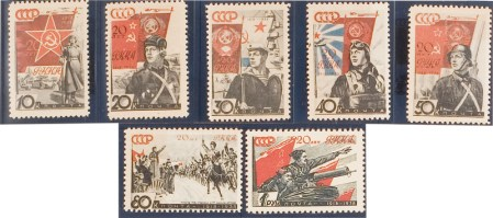 Workers' & Peasants' Red Army Set. 20th Anniversary of Workers' & Peasants' Red Army. 1938, Mar.. USSR. Scott#629-35. Private American Collection.