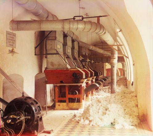 Prokudin-Gorskii, Sergei Mikhailovich. Cotton Textile Mill, 1911. 1 negative (3 frames) : glass, b&w, three-color separation. Library of Congress, Prokudin-Gorskii Collection.