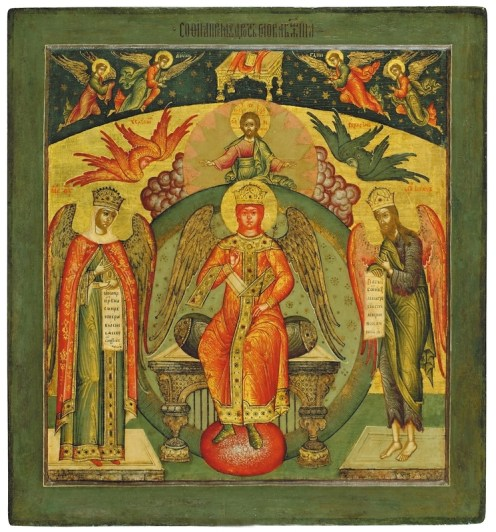Sophia, the Divine Wisdom, third quarter of the 17th century. Tempera on wooden panel. 58 x 55 cm. Yaroslavl Art Museum, Yaroslavl, Russia.