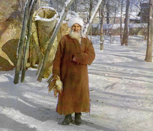 Prokudin-Gorskii, Sergei Mikhailovich. Elderly Sart, 1906-1911. 1 negative (3 frames) : glass, b&w, three-color separation. Library of Congress, Prokudin-Gorskii Collection.