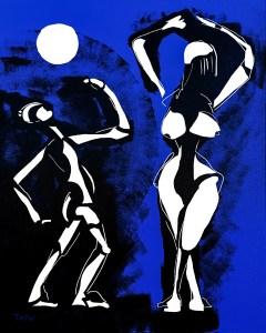 Danse de la pleine lune - originale - copie - peinture néo expressionnisme - tmpx