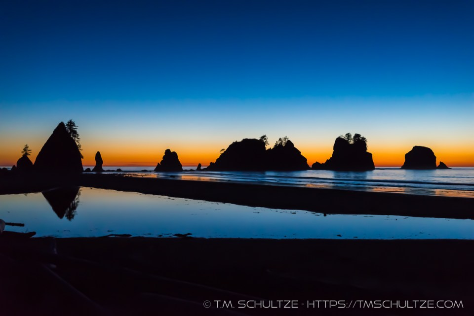 Twilight, Point of Arches, Shi Shi Beach, by T.M. Schultze