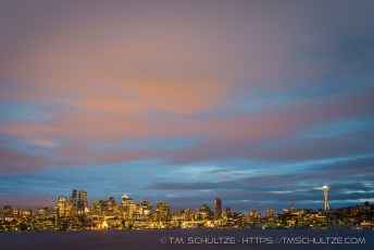 Downtown Seattle At Night From Gas Works Park