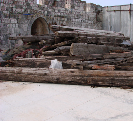 Ancient beams on the Temple Mount