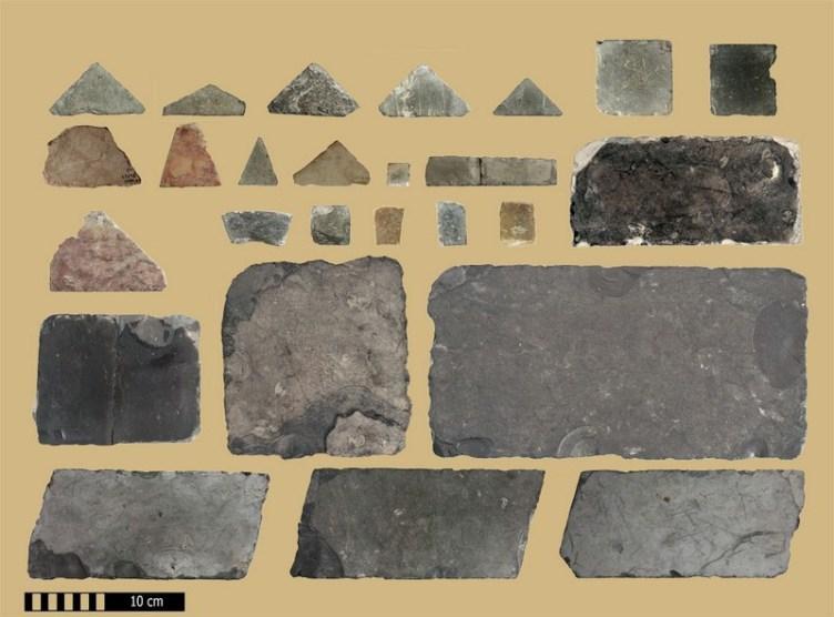 מבחר לוחות ריצוף מרחבת הר הבית בשלהי ימי הבית השני שהיתה מרוצפת בטכניקת האופוס סקטילה