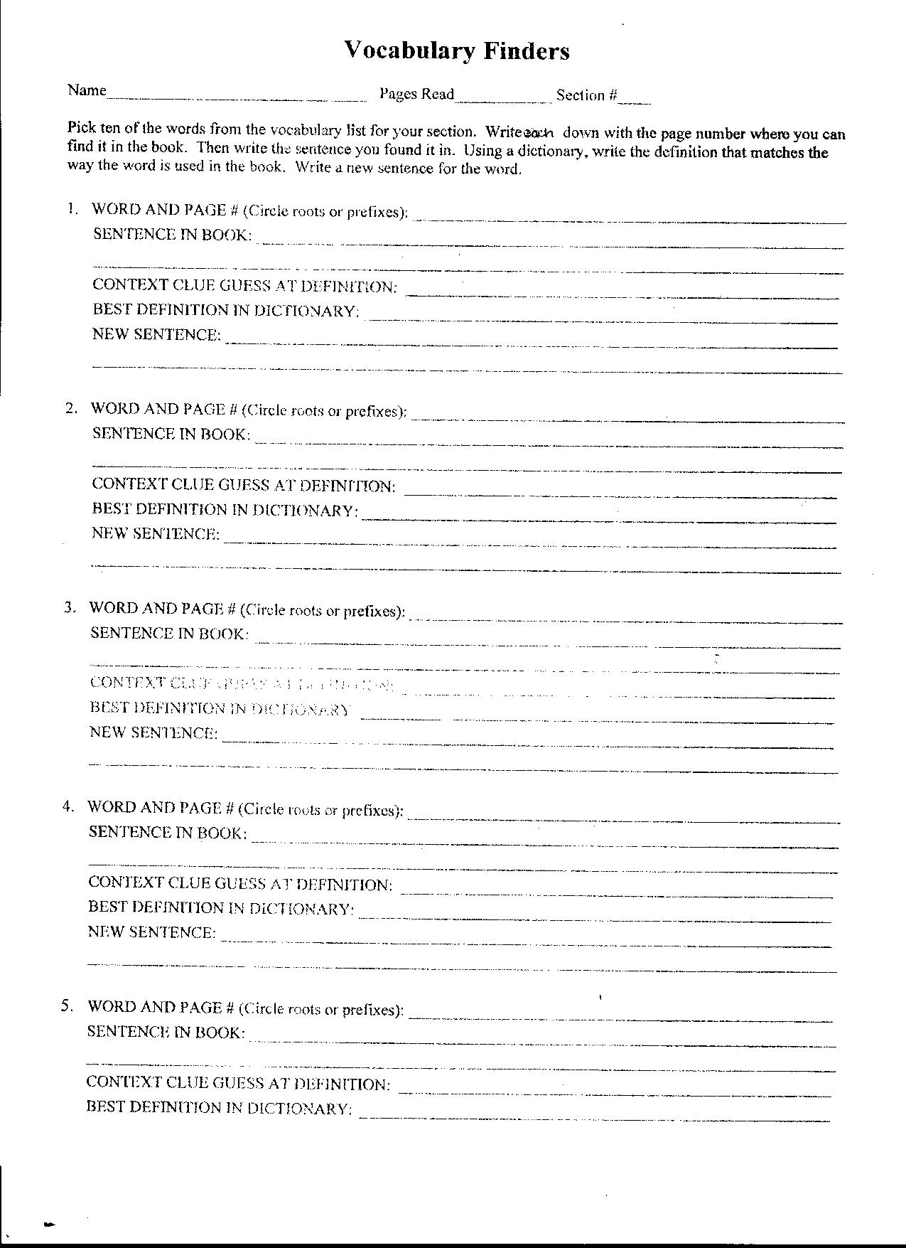 Vocabulary Worksheet Chapters 1 2 The Giver