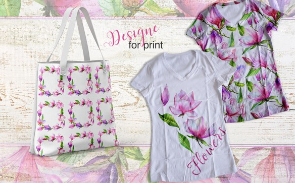 Meet Magnolia PNG Watercolor Flower Set Illustrations