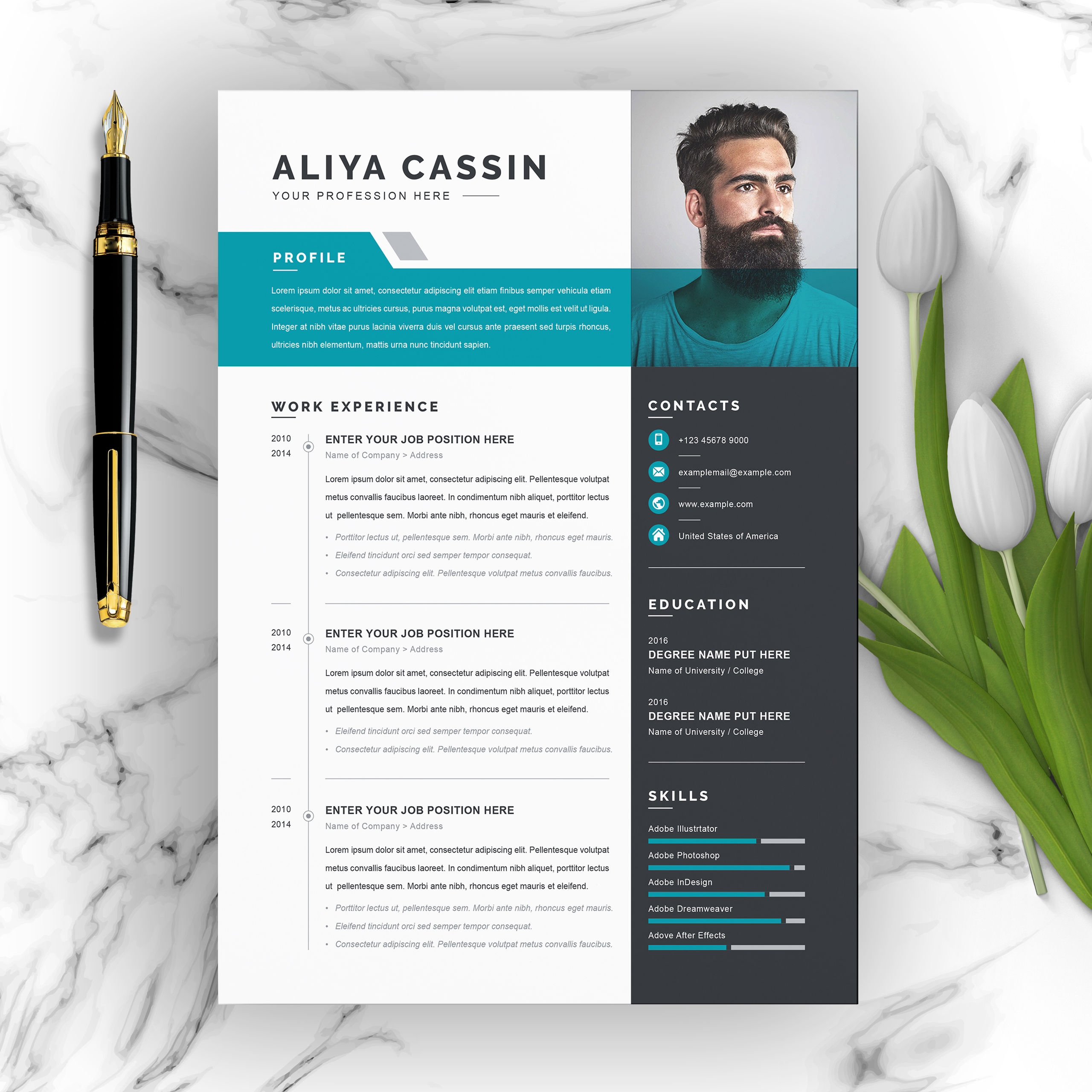 Blue, Grey and White Resume Template With Photo and Transparency