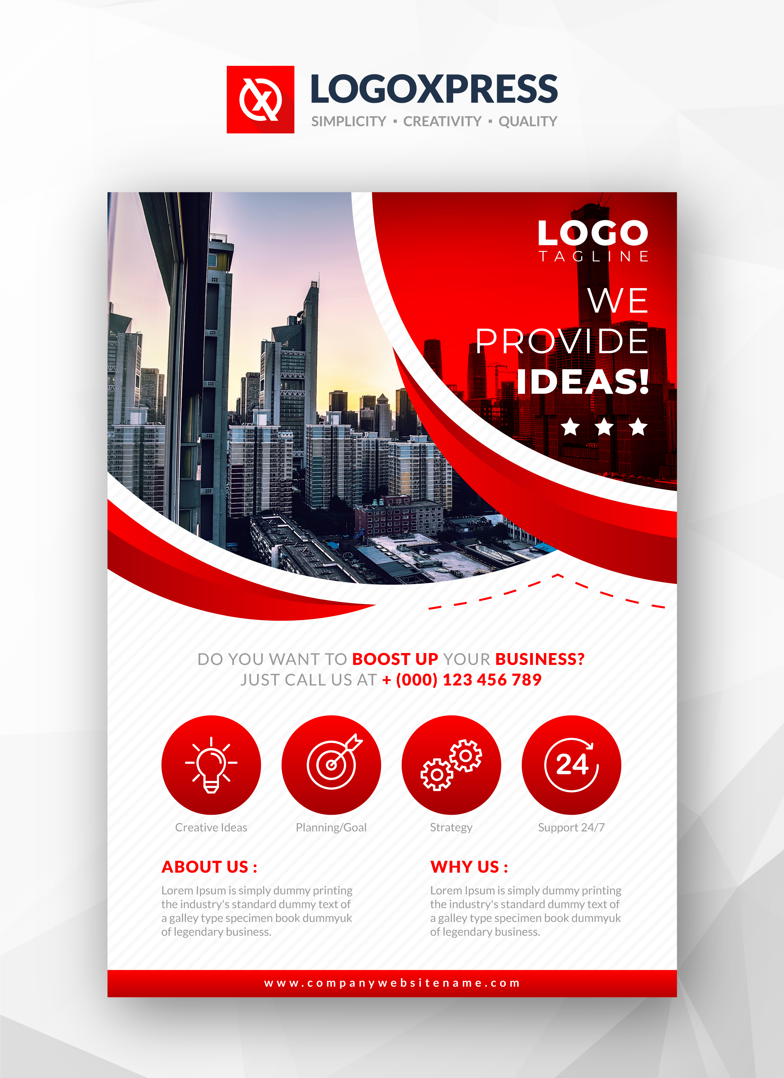 Stylish Red Business Flyer Template