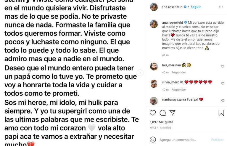 Ana Rosenfeld despidió a su esposo en las redes. (Foto: instagram/ana.rosenfeld).