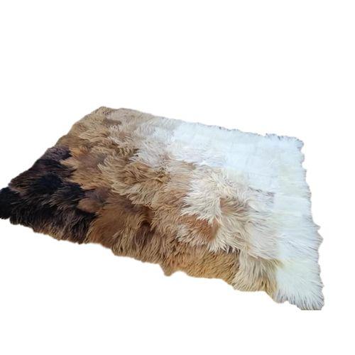 tapis peau de chevre poils longs deco vintage mosaique couleur degrade prix tunisie