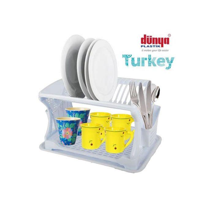 egouttoir a vaisselle deux couches rangement plastique blanc