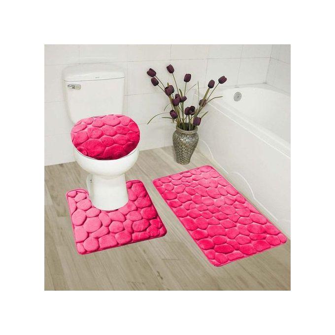 set de 4 tapis de salle de bain rose fushia uni