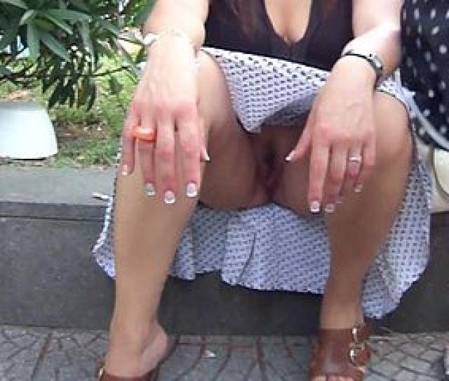 Wife No Panties Upskirt Outdoor