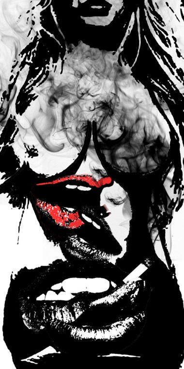 Lips on lips on lips - B/W (2016) by Tracy Ng