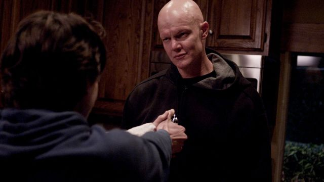 William (Derek Mears) is confronted by his son Brandon (Alex Saxon) at gunpoint in a still from the film 'Compound Fracture'