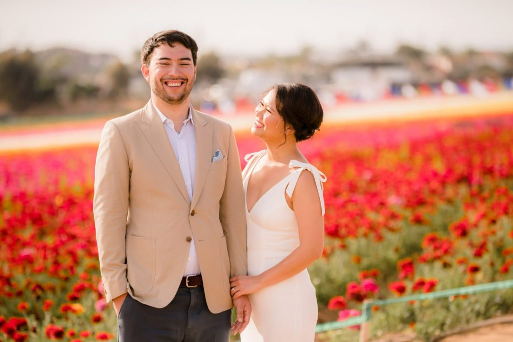 flower fields carlsbad engagement session Michelle and Ben