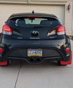 T N M F Hyundai Veloster mudflaps rear view