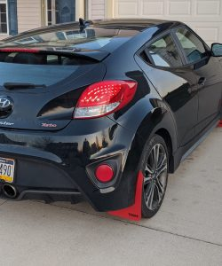 T N M F Hyundai Veloster mudflaps rear view passenger side