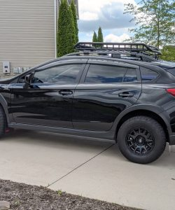 T N M F 2018+ Subaru Crosstrek mudflaps driver side view