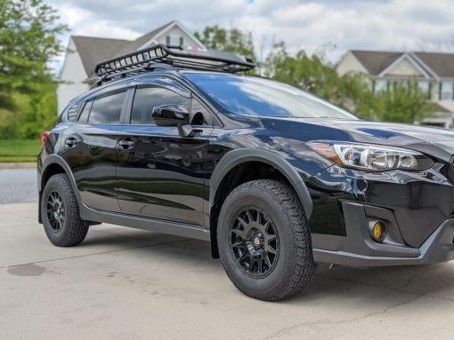 T N M F 2018+ Subaru Crosstrek mudflaps passenger front view