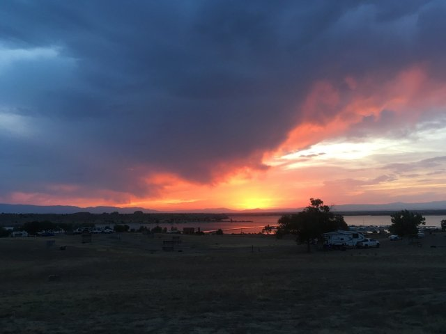 A sunset over Lake Pueblo west of Pueblo, CO.