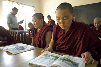 Buddhist nun studying at Tibetan nunnery