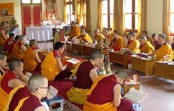 Buddhist nuns in prayer hall Shugsep Nunnery