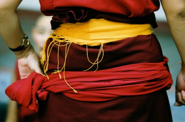 Tibetan Buddhist nun's colourful waist sashes