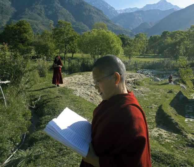 Tibetan nun standing reading outside in India
