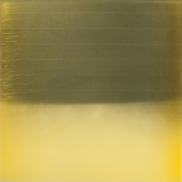 Miya Ando, Prayer Flag Yellow, 2013. 12x12 inches, dye, phosphorescence pigment and resin on aluminum plate.