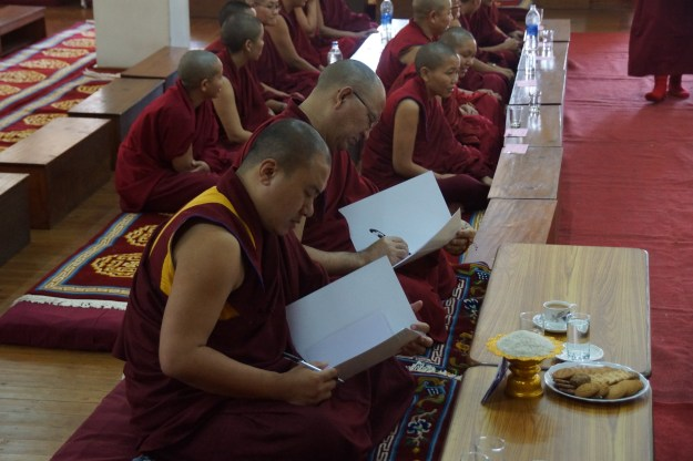 Teachers during Geshema Exams Tibetan Buddhist Nuns