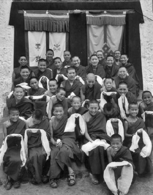 group of nuns at Sherab Choeling Nunnery in Spiti